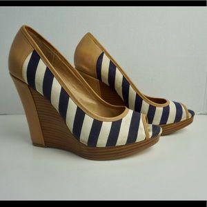 Splendid nautical stripes wedge peep toe heels 7.5